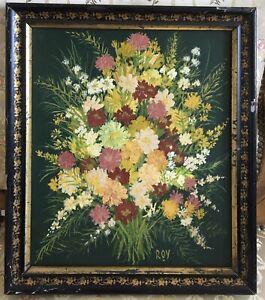 Petit-tableau-peinture-Huile-Toile-Nature-morte-fleurs-Napoleon-III-XIXe-19TH