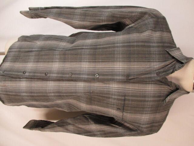 Zanella Mens Grey Plaid Long Sleeve Shirt M Italy Made