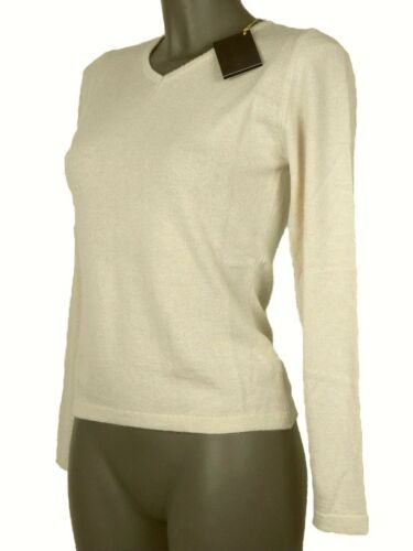 S Cachemire Forme V Beige Italy En Made Laine Soie Col In De Taille Pull Femme wzx4R