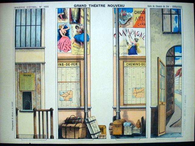 PELLERIN Imagerie d'epinal-grand Teatro Nouveau N ° 1655 estación de tren inv1767