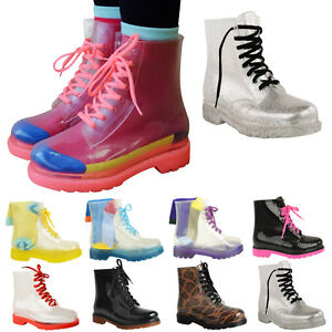 WOMENS-LADIES-FLAT-CLEAR-FESTIVAL-JELLY-WELLIES-LOW-ANKLE-RAIN-BOOTS-SHOES-SIZE