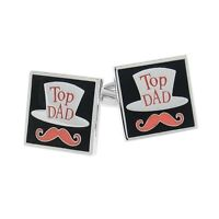 Top Dad Fathers Day Gift Cufflinks Best Moustache Hat + Box & Cleaner