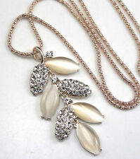 New Betsey Johnson Gold  Opal Crystal/Rhinestone Leaves Necklace
