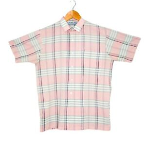 Vintage-Colourways-By-Osmal-Mens-Pink-Check-Shirt-Size-Medium-Short-Sleeve