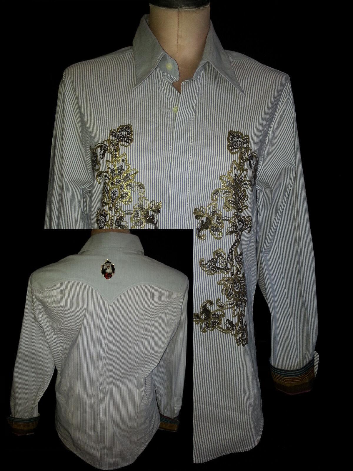 JUST CAVALLI damen Long Sleeve Button Front Shirt Floral Blau Weiß Größe Medium