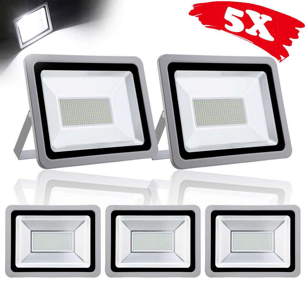 5X 200W LED Fluter Licht Scheinwerfer Baustrahler IP65 Kaltweiβ Außen Strahler