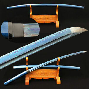 Blue-Blade-Japanese-Shirasaya-Katana-Samurai-Sword-Folded-Steel-Full-Tang-Sharp