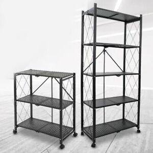 Rack With Wheeled Cart Storage Shelf
