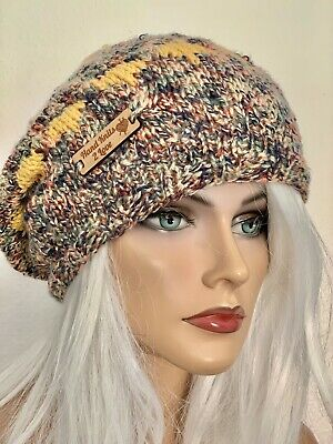 Hand Knits 2 Love Beanie Hat Slouch Cap Ombr\u00e9 Tweed Designer Fashion Flowers Beads Pink Grey Female Head Hair Chemo Gift Winter Christmas