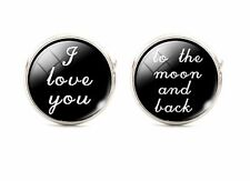 I Love You To Moon And Back Silver Plt Wedding Cufflinks Cuff links Black rd 925