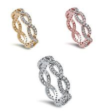 Criss Cross Infinity 925 Sterling Silver Rose & Gold Platted Eternity Ring Band