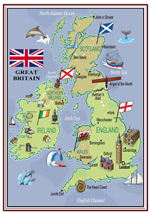 Kids Map Of England.Details About A4 Poster Sign Educational Nursery Children Kids Childminders Great Britain 2