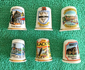 Set-Of-6-English-Towns-Bone-China-Thimbles-Collectable-England-Places-S1