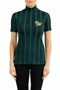 Just-Cavalli-Women-039-s-Dark-Green-Short-Sleeve-Turtleneck-Top-US-S-IT-40