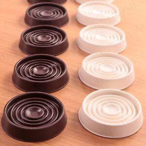 4 X Large Rubber Non Slip Castor Cups White Brown Floor Wood Laminate Feet Cap Ebay