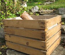 KAMINHOLZKORB mit JUTE-EINLAGE Alte OBSTKISTE Apfelkiste Holz Box Allzweck Kiste