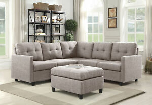 Details about Linen Fabric Modern Sectional Sofa L-Shaped Couch Reversible  Chaise Ottomans