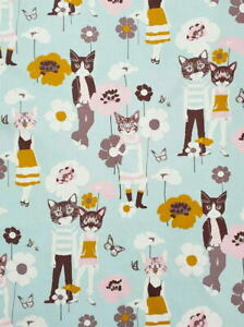 Alexander Henry Nicole's Prints Cool Cats Blue w/Grey Novelty Cotton Fabric BTY