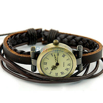 Vintage Ladies Womens Weave Wrap Around Leather Bracelet Quartz Wrist Watch BG3U