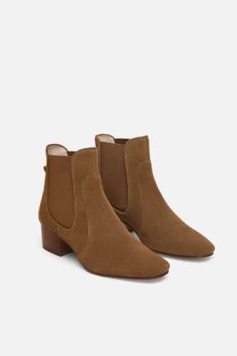 Zara chiaro Bnwt marrone piatta in Uk Stivaletti taglia 7 pelle wqHq7aY6