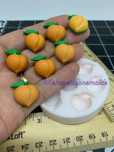 7 Cavities Peach Fruits silicone mold-Fondant-Resin-Gumpaste-Clay-Candy-Jewelry.