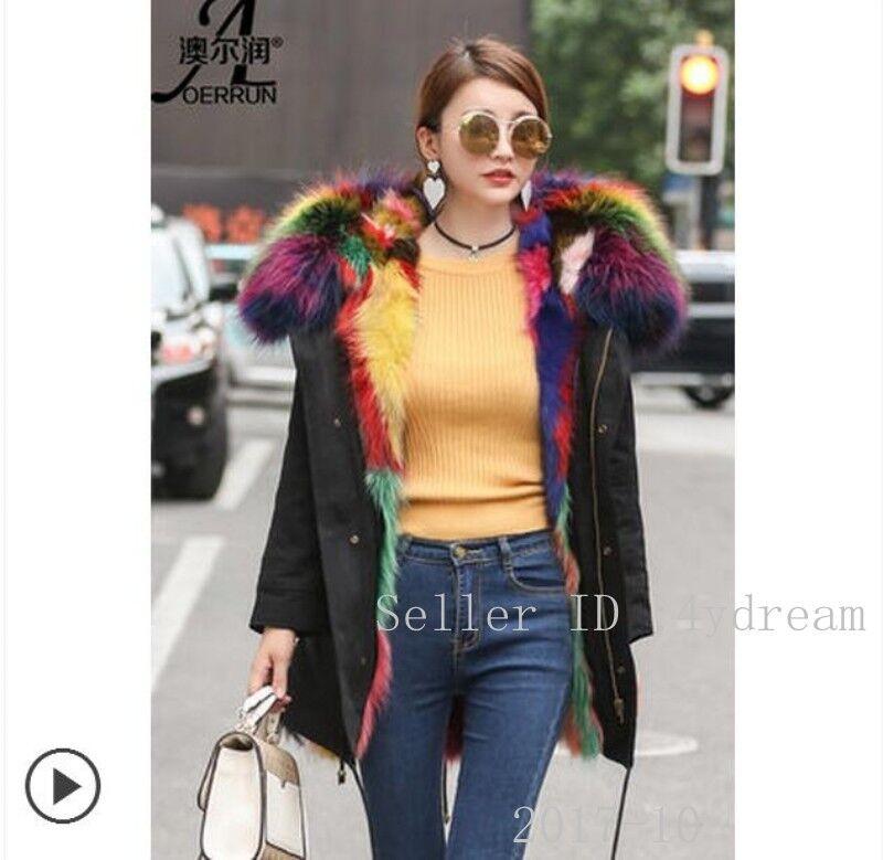 Womens 100% Fur Hooded Fur Lined Winter Coat Parka Winter Snow Coat Outwear 3XL