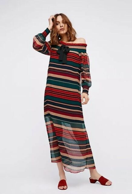 65e118cc9b Free People Between The Lines Stripe Off The Shoulder Maxi Dress English  Factory