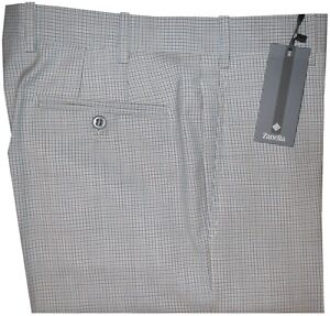 495-NEW-ZANELLA-PLATINUM-CURTIS-MULTI-TATTERSALL-130-039-S-WOOL-SLIM-DRESS-PANTS-34