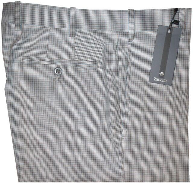 $495 NEW ZANELLA PLATINUM CURTIS MULTI TATTERSALL 130'S WOOL SLIM DRESS PANTS 34