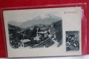 Alte-Ansichtskarte-Berchtesgaden-Totalansicht-mit-Kirche-Alpen-ungelaufen