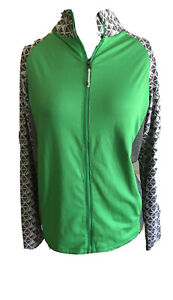 Antigua-Women-s-Jacket-Lightweight-Green-Gray-Zip-Up-With-Pockets-Size-Medium