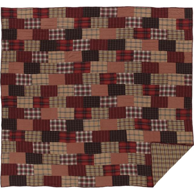 Cr Red Rustic Bedding VHC Wyatt Quilt Cotton Patchwork Chambray Khaki Espresso