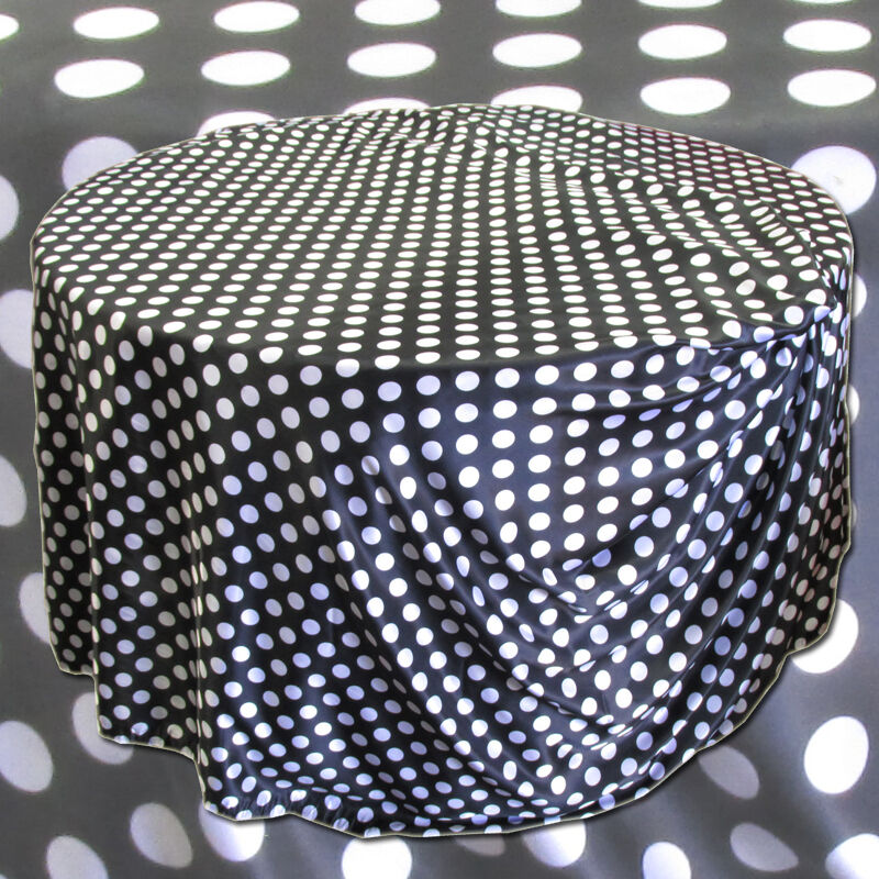 10 Polka Dot 120  Satin Nappes Table 5 FT (environ 1.52 m) made in USA Mariage Fête événement