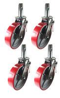 4 Pcs Scaffold Caster 8 X 2 Red Wheels W/ Locking Brakes 1-3/8 Stem 3200 Lbs.