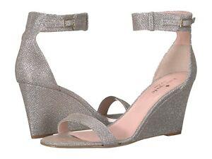 033c2cc599 NIB Kate Spade Ronia Size 8 Silver Wedge Heels Evening Sandals $298 ...