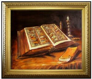 Framed-Van-Gogh-Open-Bible-Repro-Quality-Hand-Painted-Oil-Painting-20x24in