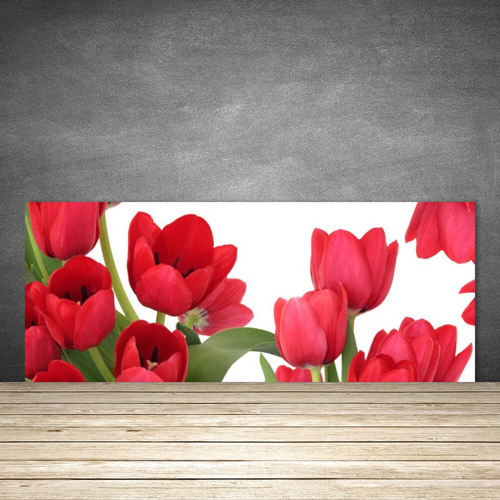 Crédence de cuisine en verre verre verre Panneau 125x50 Floral Tulipes 45edda