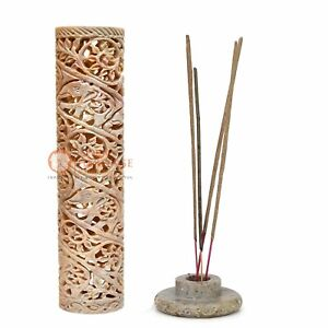 """11"""" Soapstone Incense And Candle Holder Lattice Floral Design Home Decor Gifts"""