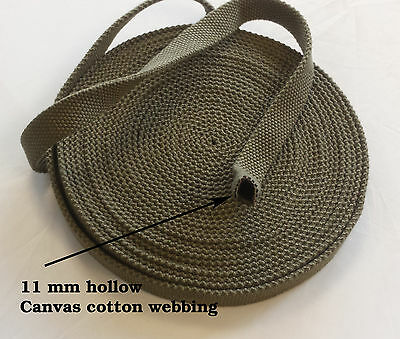 11mm Hollow Pipe Sleeve Canvas 3.5mm Thick Cotton Twill Webbing - Army Green