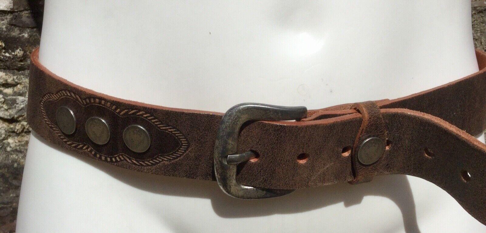 "* TOPFER * Men's Brown Leather Belt Gurtel 1/4 Silver Florin Coins Buttons 36"""