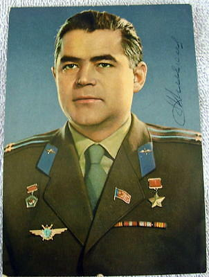 Astronauts Loyal Original 1960s Hand Signed Photo Postcard Of Soviet Cosmonaut Andrian Nikolayev Shrink-Proof