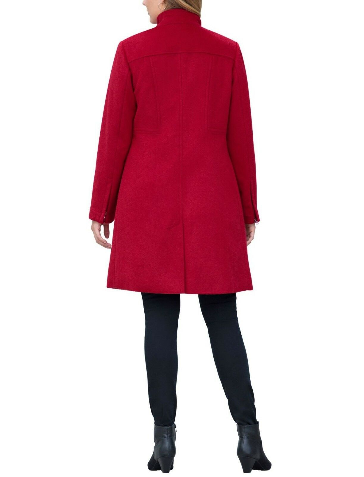 6de76877613 ... Jessica London Plus Size Classic Red Long Long Long Sleeves Wool-Blend  Shirtcoat Size 24 ...
