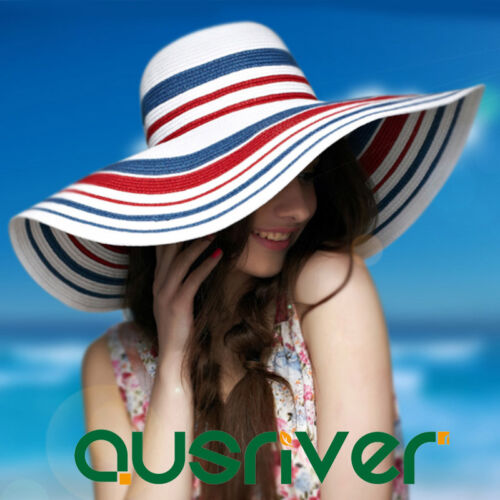 Foldable Breathable Women Beachwear Sun Hat Striped Floppy Big Brim Straw Hat