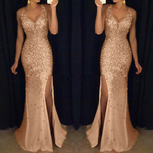 Women-Sequin-Prom-Party-Ball-Bridesmaid-Gown-Sexy-Gold-Evening-V-Neck-Long-Dress