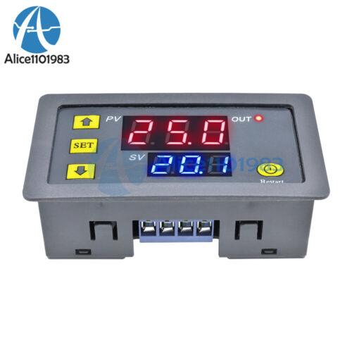 12V Thermostat Cycle Timer Delay Dual Display Relay Module 0-999 hours