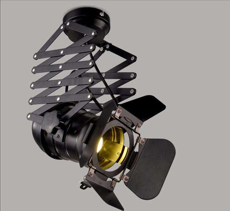 Custom Flexible Track Lighting: Industrial Retro Iron Ceiling Light Flexible Spotlight