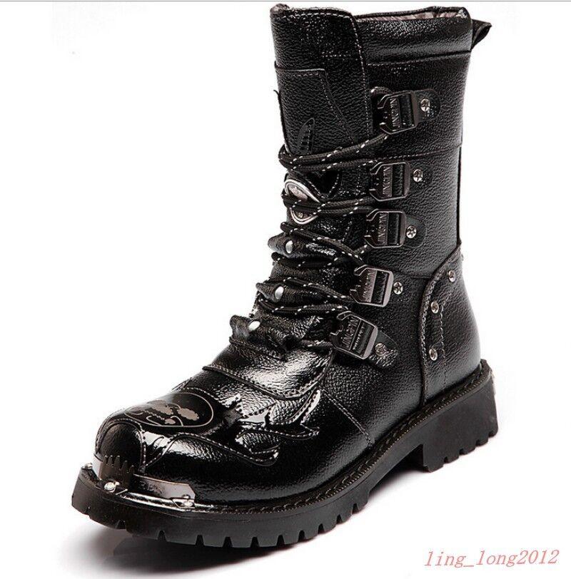Men'S Gothic Boots Punk Biker Combat Lace Black Motorcycle Cool Military shoes