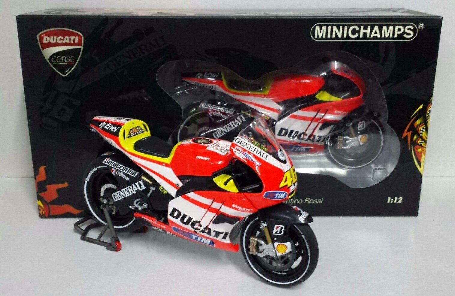 MINICHAMPS VALENTINO ROSSI 1 12 DUCATI MOTOGP  TEST SEPANG 2011  SOFT TIRES