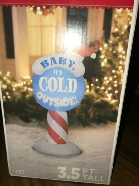 Gemmy Christmas Airblown Inflatable Baby It's Cold Outside Sign 3.5 Ft RARE