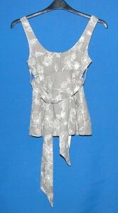 BNWT-REPUBLIC-BROWN-STRAPPY-TOP-WITH-CREAM-EMBROIDERED-FLOWER-PATTERN-SIZE-XS